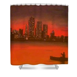 Canoe By The City Shower Curtain by Christy Saunders Church