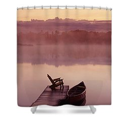 Canoe Dock, Pinawa, Manitoba Shower Curtain by Dave Reede