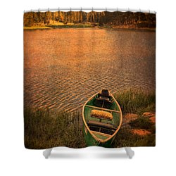 Canoe On Lake Shower Curtain by Jill Battaglia