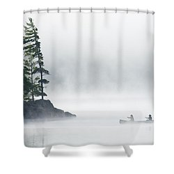 Canoeing Through Fog On Lake Of Two Shower Curtain by Mike Grandmailson