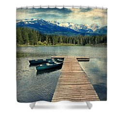 Canoes At Dock On Mountain Lake Shower Curtain by Jill Battaglia