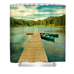Canoes At The End Of The Dock Shower Curtain by Jill Battaglia