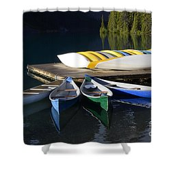 Canoes Morraine Lake 2 Shower Curtain by Bob Christopher