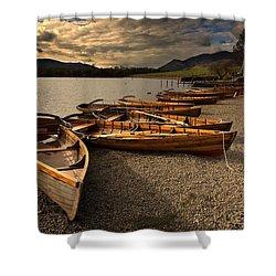 Canoes On The Shore, Keswick, Cumbria Shower Curtain by John Short