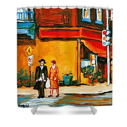Cantors Bakery Montreal Memories Vintage City Scenes Shower Curtain by Carole Spandau