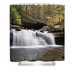 Canyon Waterfall Shower Curtain by David Troxel