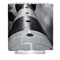 Cape Canaveral Lighthouse Black And White Shower Curtain by Roger Wedegis