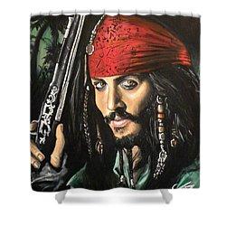 Captain Jack Sparrow Shower Curtain by Tom Carlton