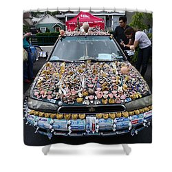 Car Of Teeth Shower Curtain by Kym Backland