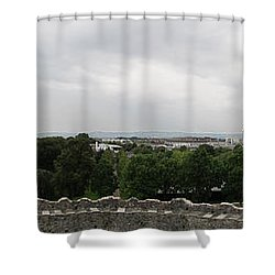 Cardiff Castle Panorama Shower Curtain by Ian Kowalski