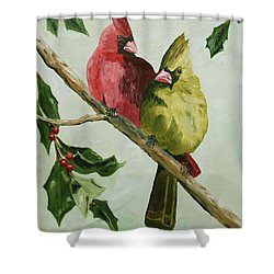 Cardinals With Holly Shower Curtain