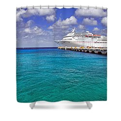 Carnival Elation Docked At Cozumel Shower Curtain by Jason Politte