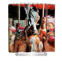 Shower Curtain featuring the photograph Carousel Horses by Renee Trenholm