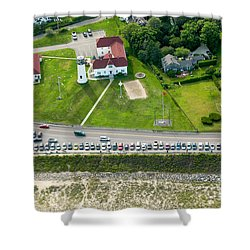 Cars Line Up At The Parking Lot At Chatham Lighthouse And Chatha Shower Curtain by Matt Suess