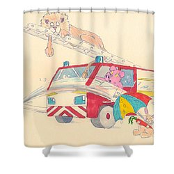 Cartoon Fire Engine And Animals Shower Curtain