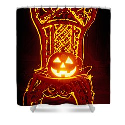 Carved Smiling Pumpkin On Chair Shower Curtain by Garry Gay