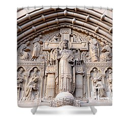 Carved Stone Biblical Mural Above Catholic Cathedral Doorway  Shower Curtain by Gary Whitton