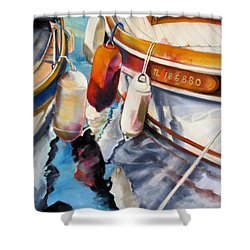 Cassis Castaways Shower Curtain by Rae Andrews