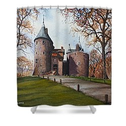 Castell Coch Shower Curtain by Andrew Read