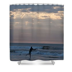 Casting Into The Surf Shower Curtain by Bill Cannon