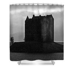 Castle Stalker Dusk Silhouette Shower Curtain by Gary Eason