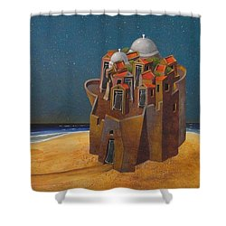 Castle With Two White Domes Shower Curtain by Dimitris Milionis