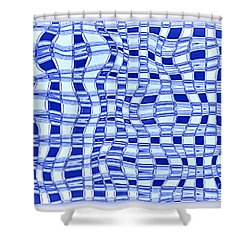Catch A Wave - Blue Abstract Shower Curtain by Carol Groenen
