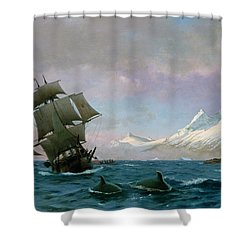 Catching Whales Shower Curtain by J E Carl Rasmussen
