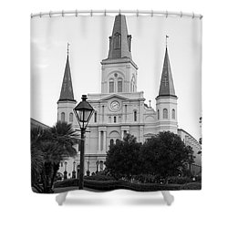 Cathedral And Lampost On Jackson Square In The French Quarter New Orleans Black And White Shower Curtain