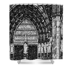 Shower Curtain featuring the photograph Cathedral In The Snow Panorama by Andy Prendy