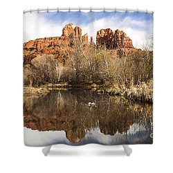 Cathedral Rock Reflections Landscape Shower Curtain by Darcy Michaelchuk