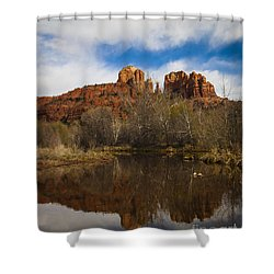 Cathedral Rock Reflections Portrait 2 Shower Curtain by Darcy Michaelchuk