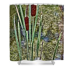 Shower Curtain featuring the photograph Cattails Along The Pond by Don Schwartz