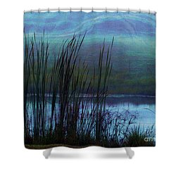 Cattails In Mist Shower Curtain by Judi Bagwell