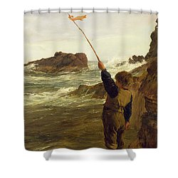 Caught By The Tide Shower Curtain by James Clarke Hook