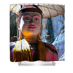 Cave Buddha Shower Curtain by Adrian Evans