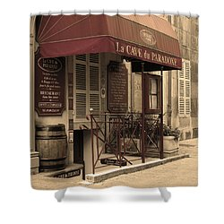 Cave Du Paradoxe Wine Shop In Beaune France Shower Curtain by Greg Matchick