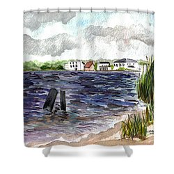 Shower Curtain featuring the painting Cedar Beach by Clara Sue Beym