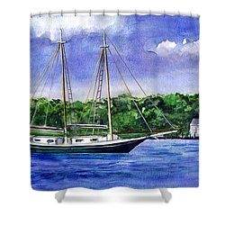 Shower Curtain featuring the painting Cedar Beach Schooner by Clara Sue Beym