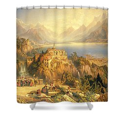 Celebrating The Grape Harvest Lake Orta North Italy Shower Curtain by John Bell