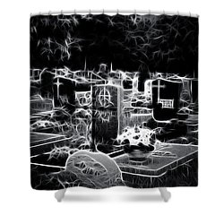 Cemetary At Night Shower Curtain by Ellen Heaverlo