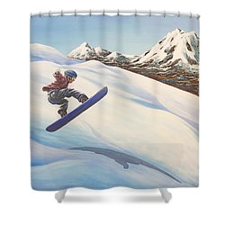 Central Oregon Snowboarding Shower Curtain by Janice Smith