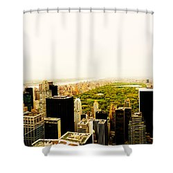 Central Park And The New York City Skyline From Above Shower Curtain by Vivienne Gucwa