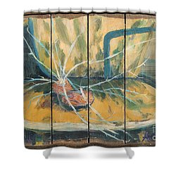 Shower Curtain featuring the painting Chair With Potatoes by Avonelle Kelsey