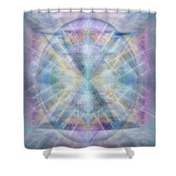 Chalice Of Vorticspheres Of Color Shining Forth Over Tapestry Shower Curtain