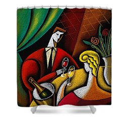 Champagne And Love Shower Curtain by Leon Zernitsky