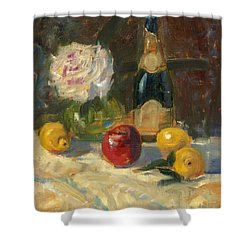 Shower Curtain featuring the painting Champagne And Roses by Marlyn Boyd