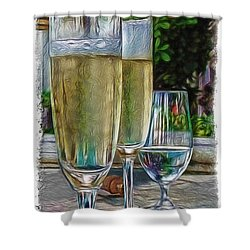 Champagne At The Beach Shower Curtain by Joan  Minchak
