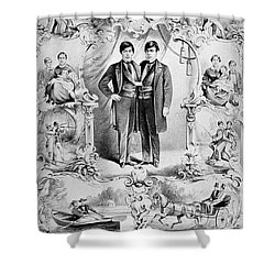 Chang And Eng Bunker, The Original Shower Curtain by Science Source