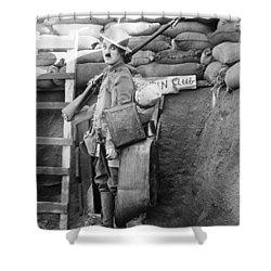 Chaplin: Shoulder Arms Shower Curtain by Granger